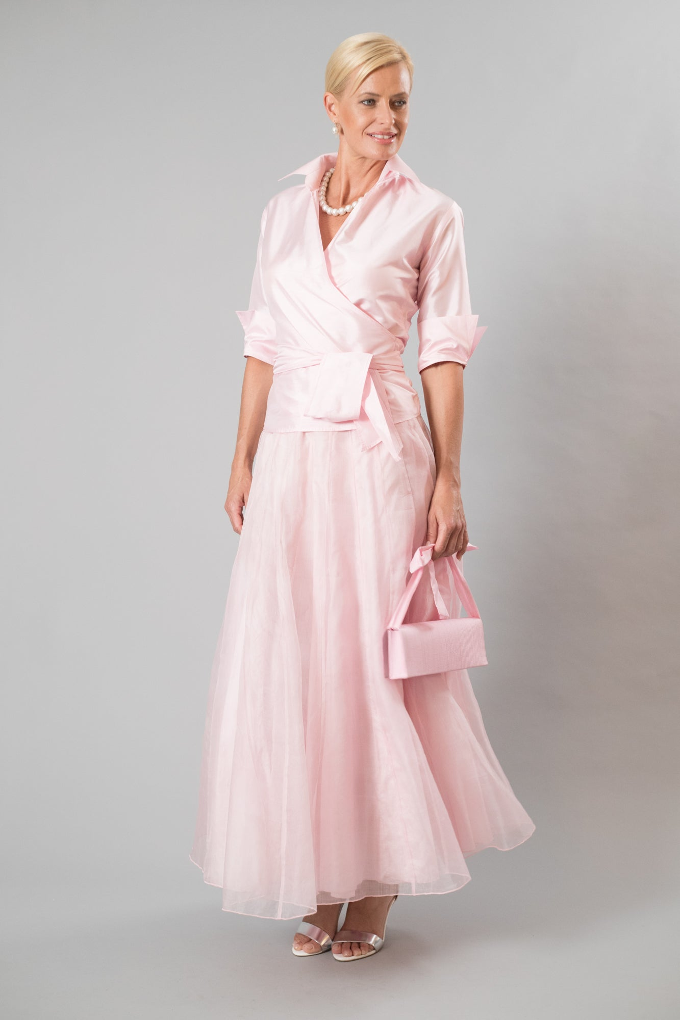 Soft pink long skirt and pure silk Soft Pink Shirt with Sleeves for the modern and elegant mother of the bride/ groom