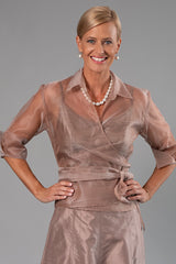 Organza Classic Wrap Shirt - Coffee for the Mother of the Bride / Groom