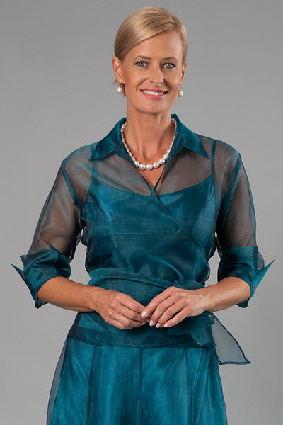 Organza Classic Wrap Shirt - Teal for the Mother of the Bride / Groom