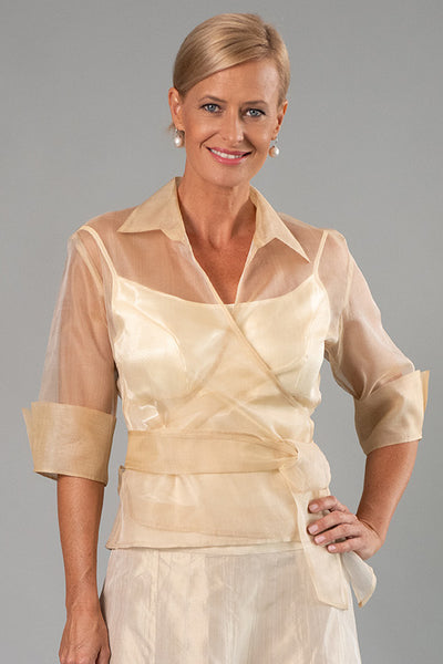 Organza Classic Wrap Shirt - Gold for the Mother of the Bride / Groom