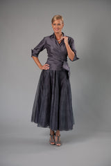 Pure Silk Gunmetal Classic Wrap Shirt with sleeves with Long Gunmetal Skirt for the Mother of the Bride / Groom