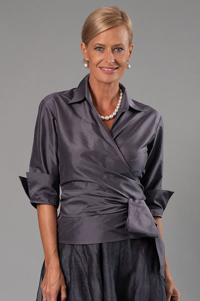 Classic Wrap Shirt - Gunmetal for the Mother of the Bride / Groom