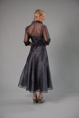 Organza Classic Wrap Shirt - Gunmetal for the Mother of the Bride / Groom