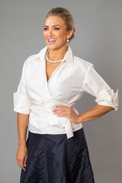 Classic Wrap Shirt - Ivory for the Mother of the Bride / Groom