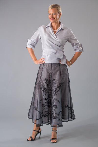 Lace Applique Skirt - Black + Silver for the Mother of the Bride / Groom