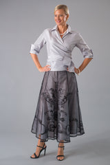Pure Silk Silver Classic Wrap Shirt with sleeves with Long Black and Silver Skirt for the Mother of the Bride / Groom
