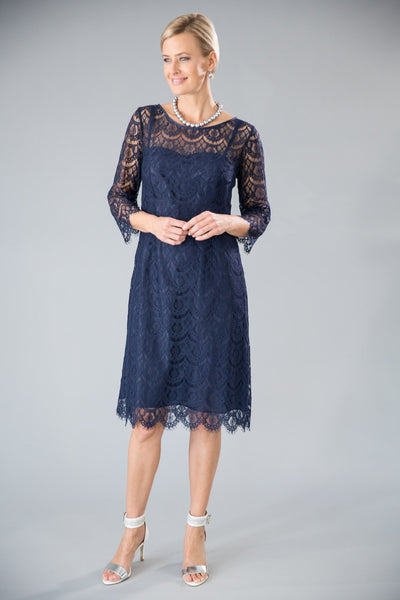 Madeleine Dress - Navy Mother of the Bride / Groom Dress with sleeves
