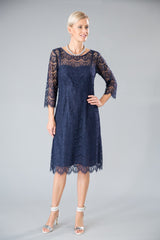 Navy blue pure silk and lace dress with 3/4 sleeves for the modern and elegant mother of the bride/ groom