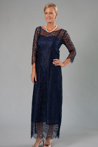 Madeleine Gown - Navy Mother of the Bride / Groom Dress with sleeves