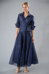 Navy blue pure silk ankle length skirt with matching Navy pure silk shirt with sleeves for the modern and elegant mother of the bride/ groom