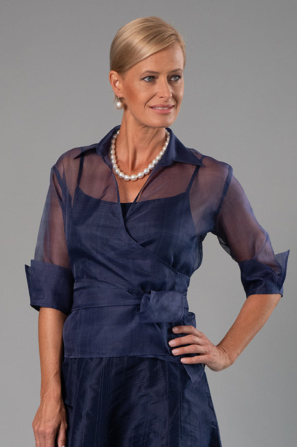 Organza Classic Wrap Shirt - Navy for the Mother of the Bride / Groom