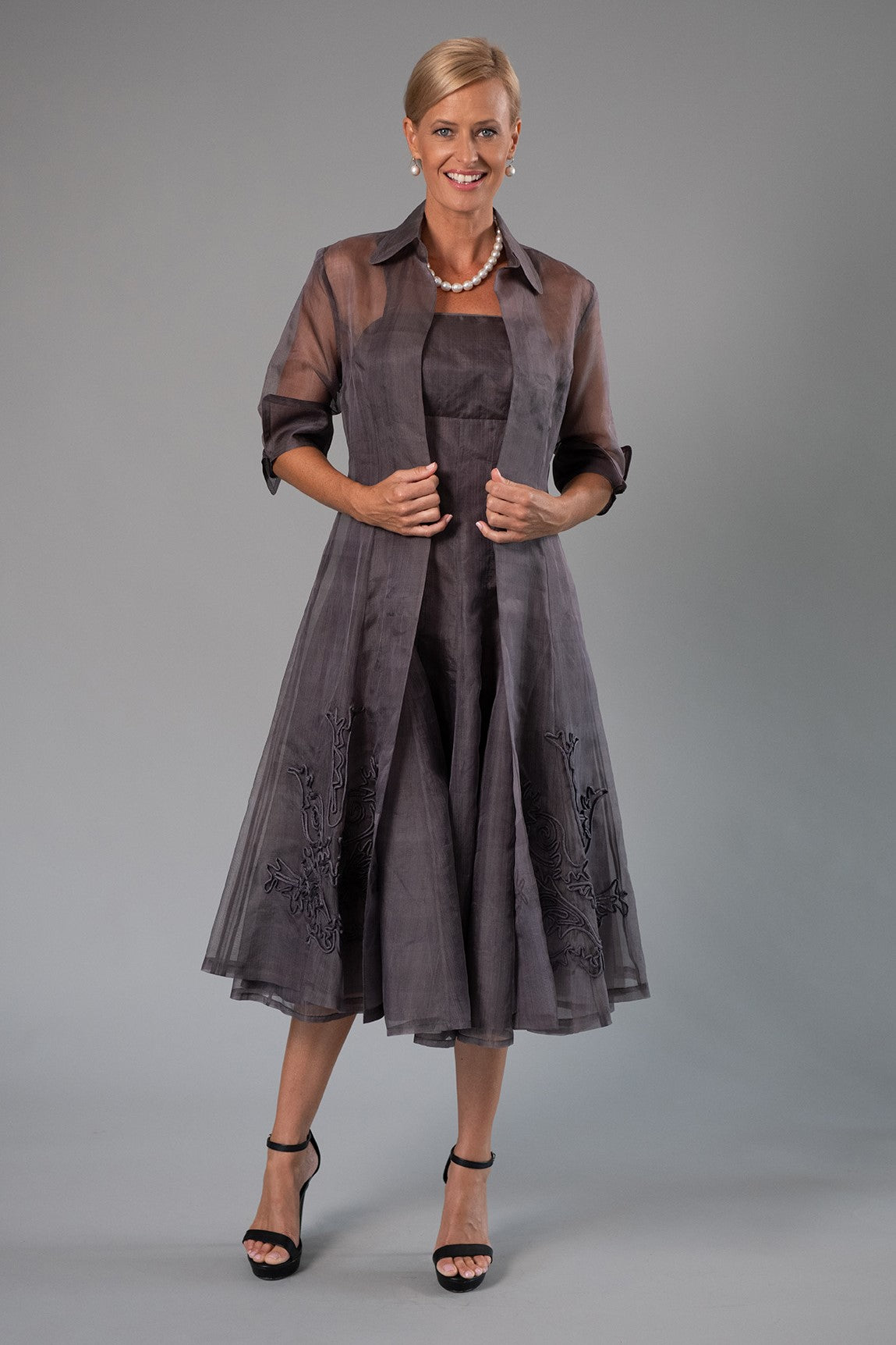 Organza Coat - Gunmetal for the Mother of the Bride / Groom