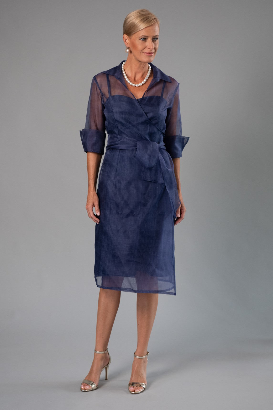 Cocktail Organza Wrap Dress - Navy for the Mother of the Bride / Groom