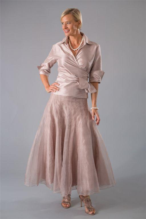 Soft pink pure silk long skirt with matching pure silk shirt with sleeves for the modern and elegant mother of the bride/ groom