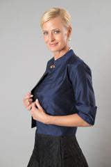 Silk Jacket - Navy