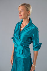 Teal long pure silk two piece outfit for the modern and elegant mother of the bride/ groom