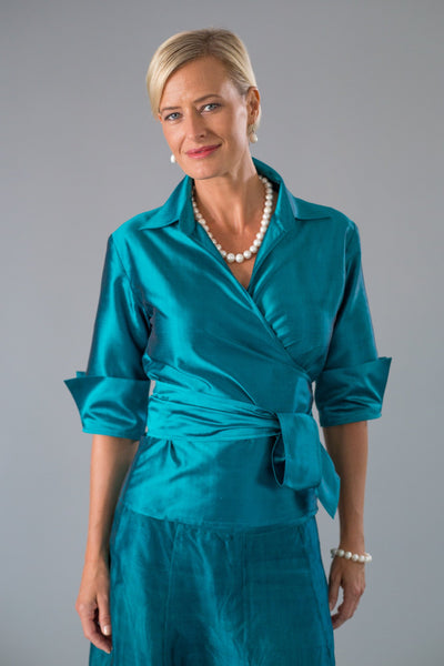 Classic Wrap Shirt - Teal for the Mother of the Bride / Groom