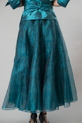 Teal long skirt and Teal pure silk Shirt with Sleeves for the modern and elegant mother of the bride/ groom