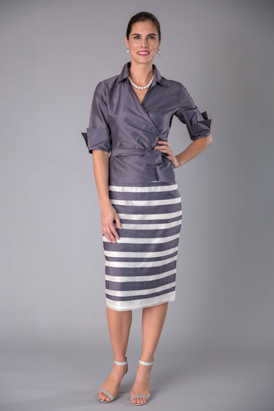 Zambi Skirt - Gunmetal + Ivory for the Mother of the Bride / Groom