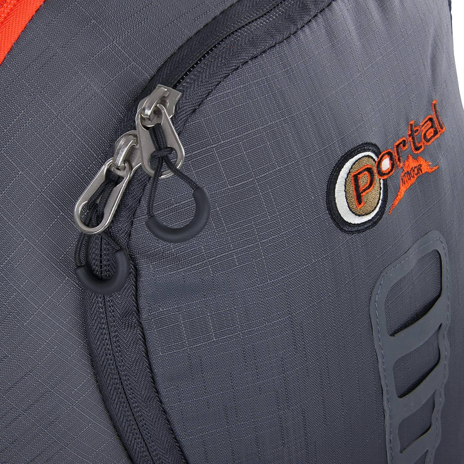 Close up image of Portal Outdoor backpack showing zipper.