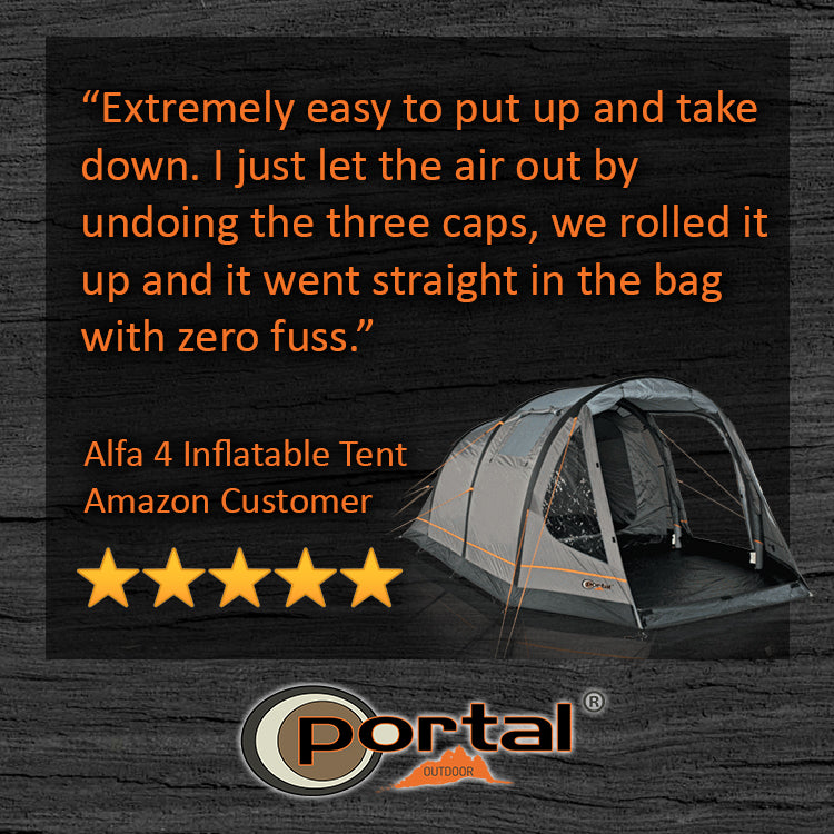 Image showing five star product review of Portal Outdoor Alfa 4 inflatable air tent.