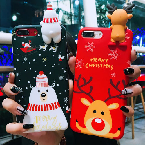 Cute Cartoon Christmas 3D Doll Back Cover For iPhone