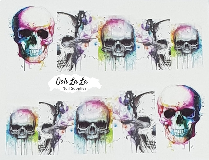Watercolour Skull Decal