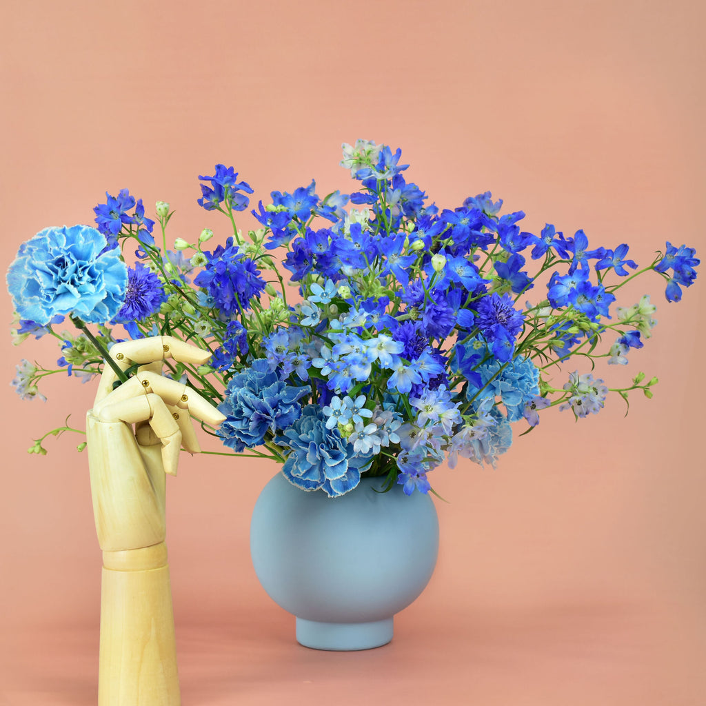 Arrangement includes blue delphinium, blue tweedia, blue corn flower, and blue dianthus designed in our blue vase.