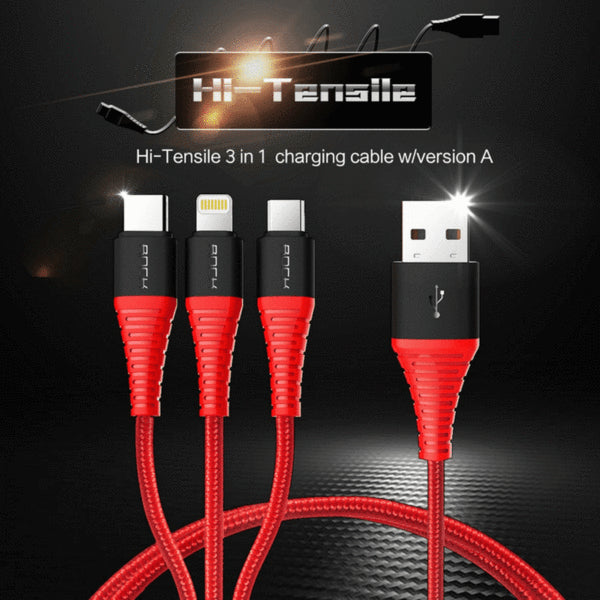 ROCK (3 in 1) USB Charging Cable for iPhone & Android