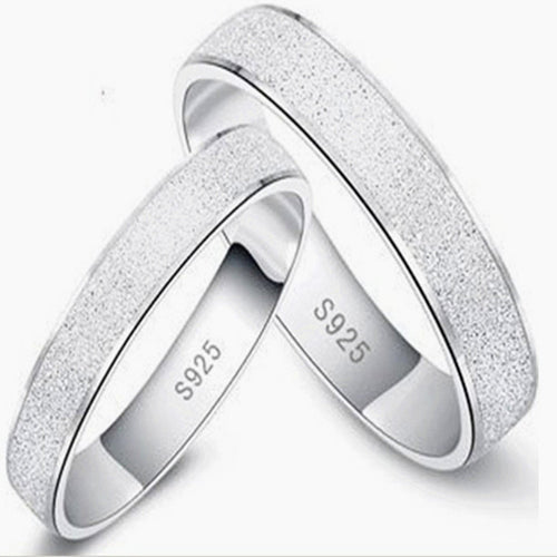 Silver S925 Sterling Silver Frosted Couple Ring