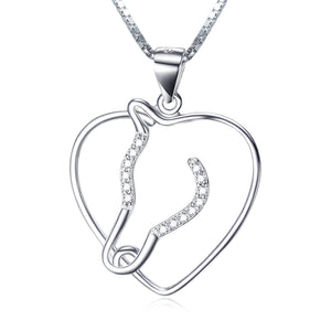 925 Sterling Silver Heart Shape Necklace