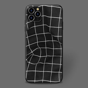 Line Space Black Simple Frosted Phone Case