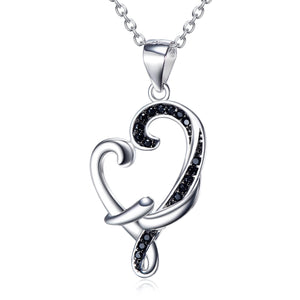 Black Drill  Heart Pendant 925 Sterling Silver Necklace