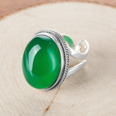 925 sterling silver Thai silver natural green chalcedony ring vintage index ring female exaggerated gemstone ring