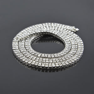 Alloy Diamond 2 Row Hip Hop Necklace
