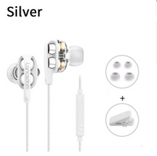 Lanston D4C new quad core dual moving coil eating chicken earphone ear heavy bass with wheat wire controlled mobile phone headset