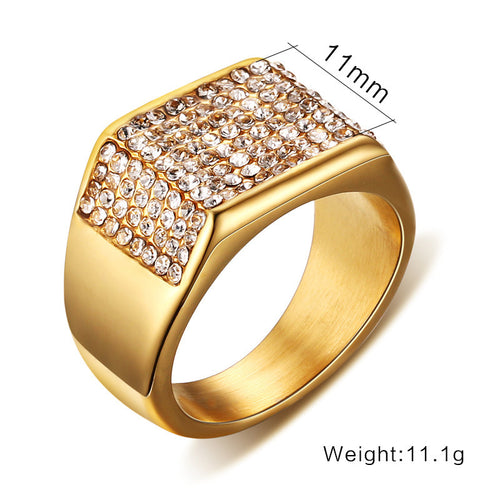 Titanium steel diamond men's ring