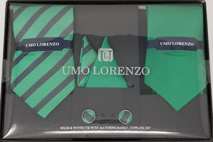 UMO LORENZO TWO TIES, TWO POCKET SQUARES, & CUFFLINKS Tie, Pocket Square & Cufflinks Paisley Box Sets GS4LESS Green-Blue Stripes