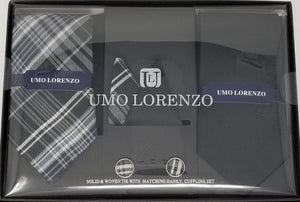 UMO LORENZO TWO TIES, TWO POCKET SQUARES, & CUFFLINKS Tie, Pocket Square & Cufflinks Paisley Box Sets GS4LESS Black-Grey Plaid