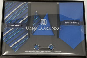 UMO LORENZO TWO TIES, TWO POCKET SQUARES, & CUFFLINKS Tie, Pocket Square & Cufflinks Paisley Box Sets GS4LESS Blue-Tri-Color Stripes