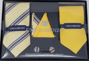 UMO LORENZO TWO TIES, TWO POCKET SQUARES, & CUFFLINKS Tie, Pocket Square & Cufflinks Paisley Box Sets GS4LESS Yellow-Tri-Colors Lines