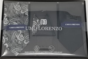 UMO LORENZO TWO TIES, TWO POCKET SQUARES, & CUFFLINKS Tie, Pocket Square & Cufflinks Paisley Box Sets GS4LESS Black-Grey Paisley