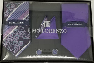 UMO LORENZO TWO TIES, TWO POCKET SQUARES, & CUFFLINKS Tie, Pocket Square & Cufflinks Paisley Box Sets GS4LESS Purple-Mixed Pattern
