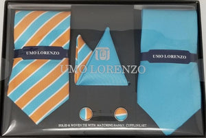 UMO LORENZO TWO TIES, TWO POCKET SQUARES, & CUFFLINKS Tie, Pocket Square & Cufflinks Paisley Box Sets GS4LESS Light Blue-Tan Stripes