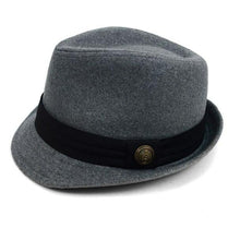 Fedora Hat with Band Trim and Button Men's Hat GS4Less Large/Extra Large Gray 35%Cotton/65%Polyester