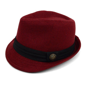 Fedora Hat with Band Trim and Button Men's Hat GS4Less Large/Extra Large Burgundy 35%Cotton/65%Polyester