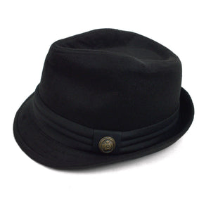 Fedora Hat with Band Trim and Button Men's Hat GS4Less Large/Extra Large Black 35%Cotton/65%Polyester
