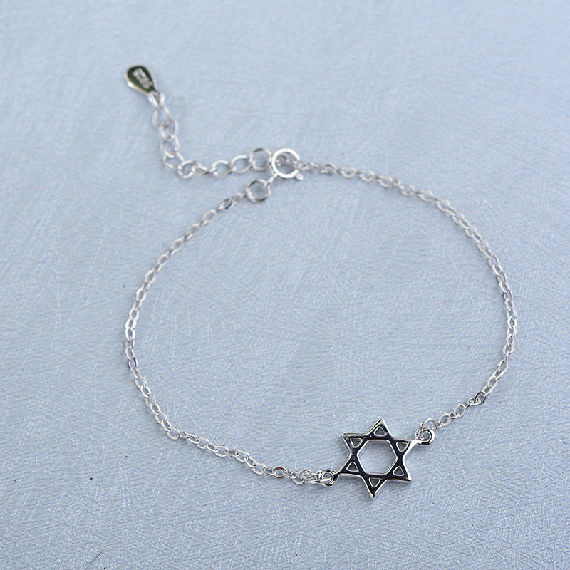 925Silver Bracelet With Hexagram Pendant