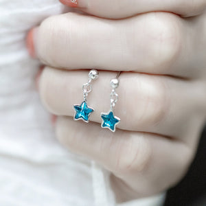 Five-star crystal ear studs