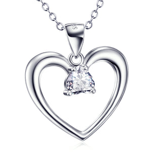 Heart Shape Pendant 925 Silver Necklace